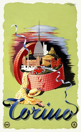 Vintage Italian Posters ~ Italy  Torino Travel Poster Print