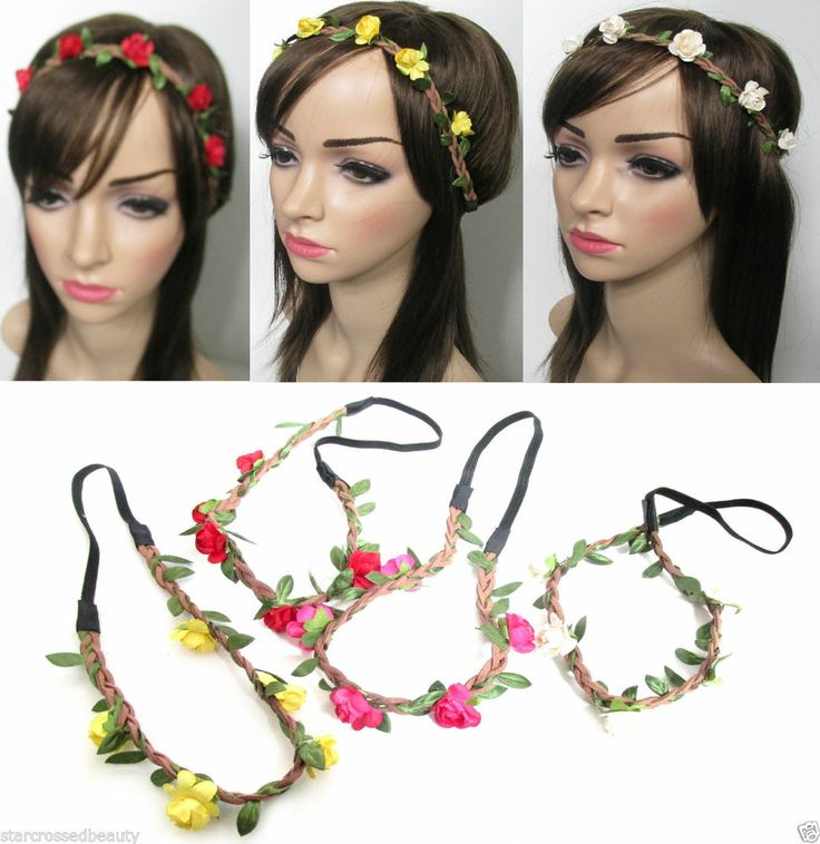 Rose Flower & Leaves Boho Festival Headband Hippie Hair Band Vintage Elastic f61