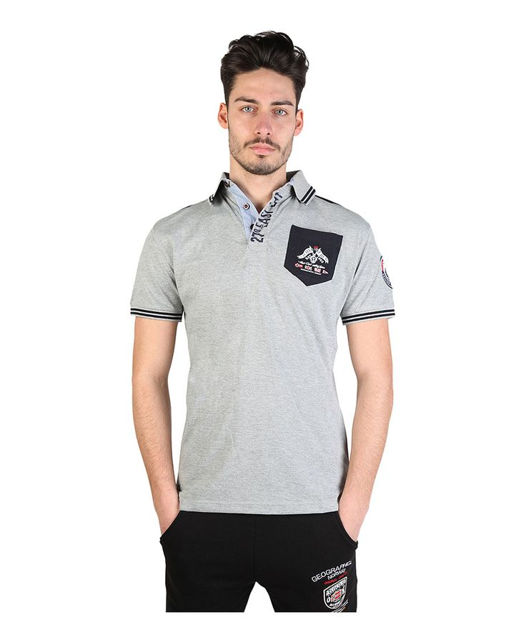 Polo man - short sleeve - multi animations  - 100% cotton  - wash 30° - Polo men kalipso man Grey