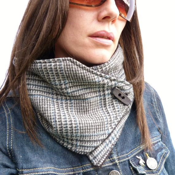 Womens Neckwarmer - Gray/Blue Prince of Wales Wool Irish Tweed and Black Fleece