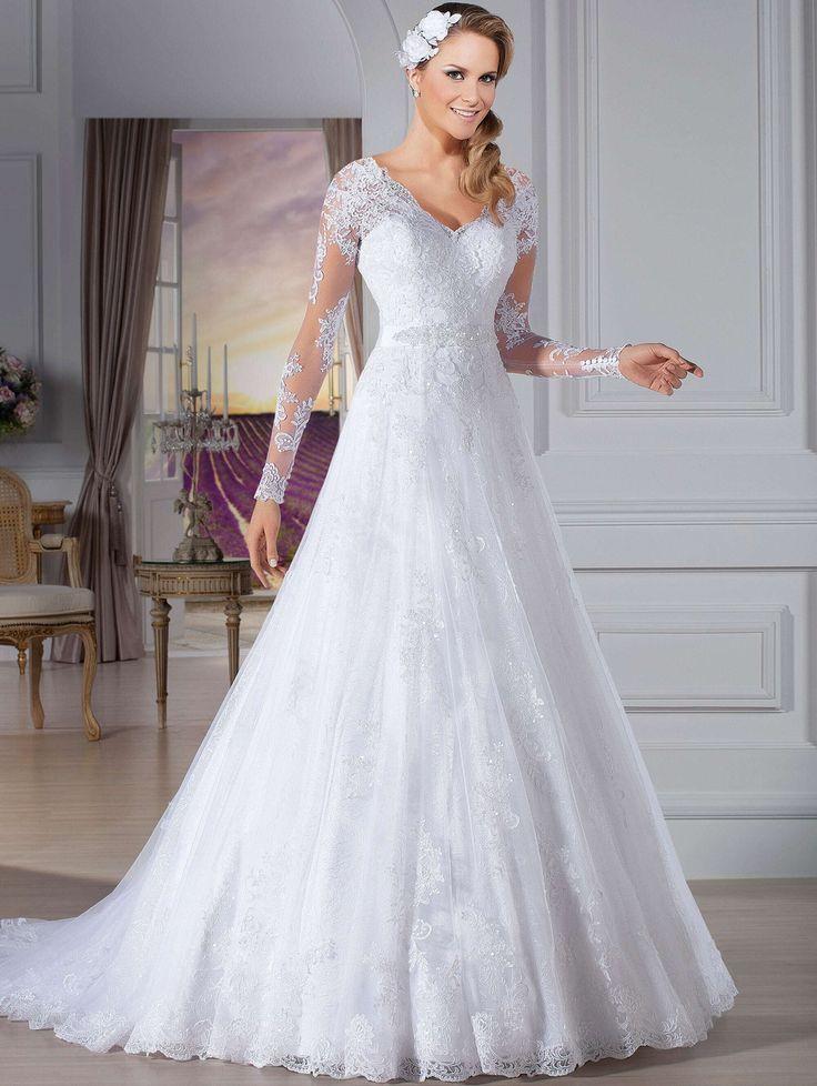 Vestido de novia Sexy ver através voltar manga comprida vestido de casamento romântico vestido de noiva Custom Made vestidos de noiva em Vestidos de noiva de Casamentos e Eventos no AliExpress.com   Alibaba Group