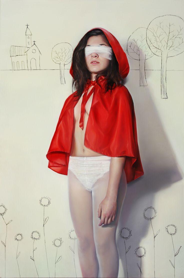 Elisa Anfuso - Attenta al lupo Olio e pastelli su tela, cm 100x120, 2013
