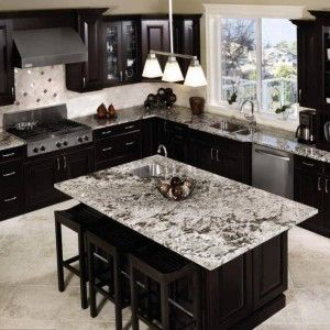 26 best images about white ice kitchen on pinterest grey for Black cabinets with marble countertops