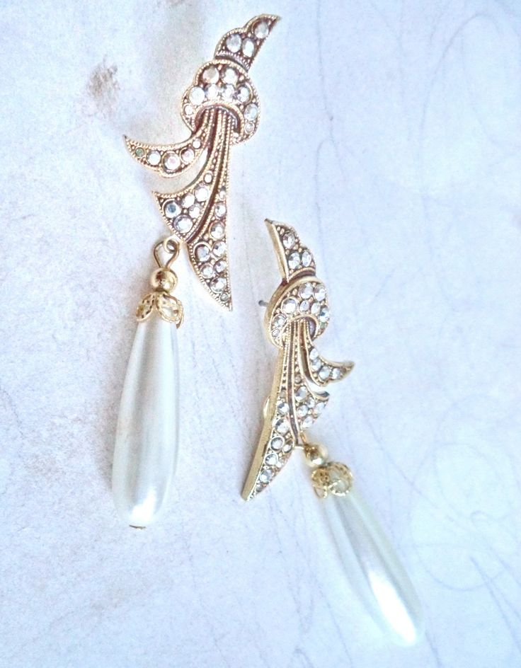 """Dramatic Kirk's Folly Huge Dangle Earrings 3"""" Bridal Gold Drop Pearl Marcasite Signed Victorian Fantasy Jewelry Runway Bride Best Gift by MushkaVintage3 on Etsy"""
