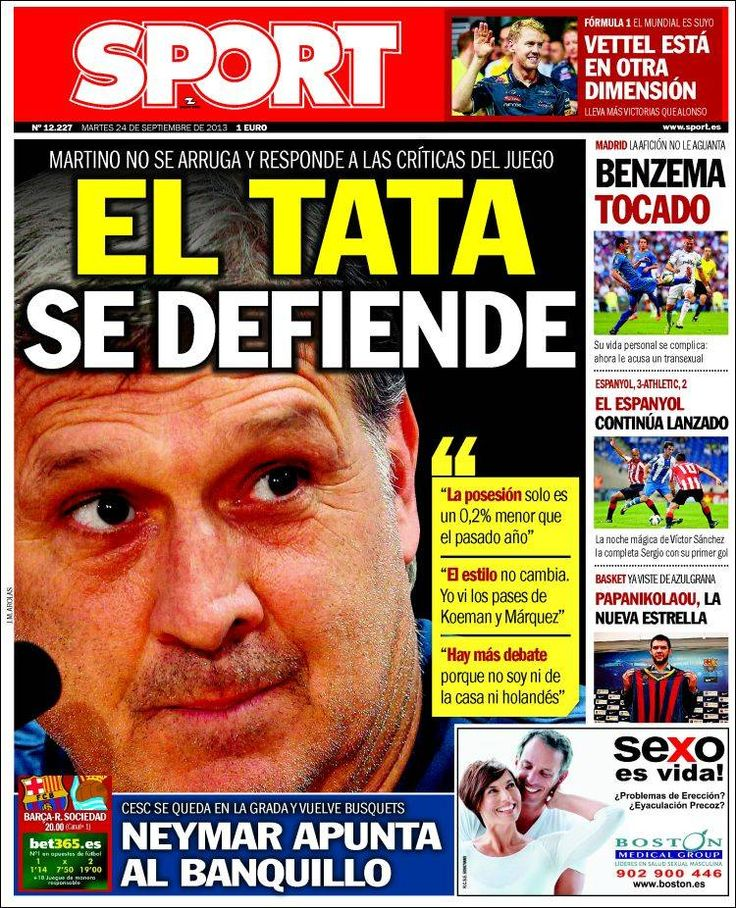 Los Titulares y Portadas de Noticias Destacadas Españolas del 24 de Septiembre de 2013 del Diario Deportivo SPORT ¿Que le pareció esta Portada de este Diario Español?