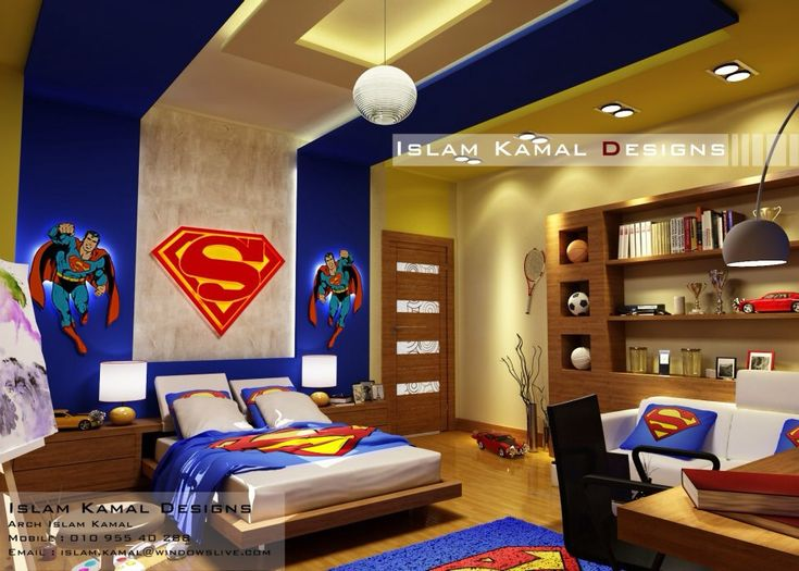 Boy room for pre-teens(5-12yrs): to call all super hero's at one place so  here is the theme superman to creative style as their own way and  when an furniture and the colors are same then it unifies the space in a long ,narrow room and when blue combines with beige or ivory shades it gives brightness