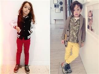 Baby Rocker. Camo undershirt with mature shawl collar sweater. Too stylish, too soon? Kid fashion blogs draw critics - TODAY.com