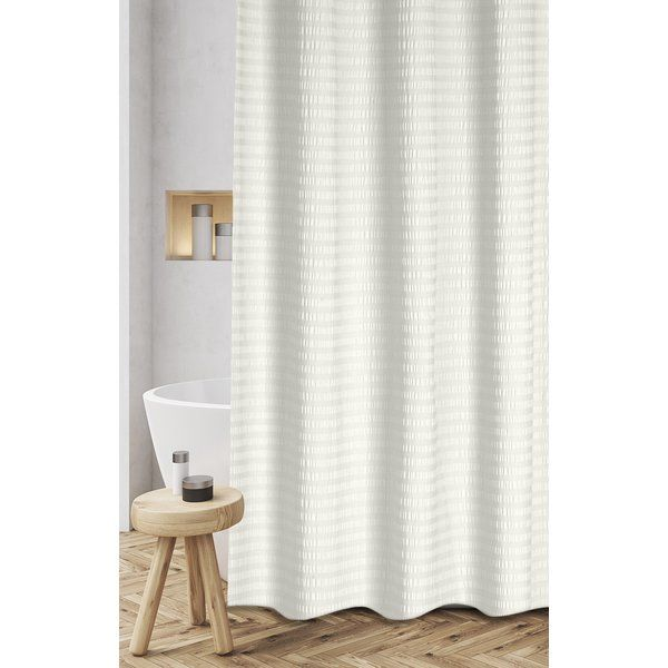 Atencio Textured Stripes 100 Cotton Shower Curtain