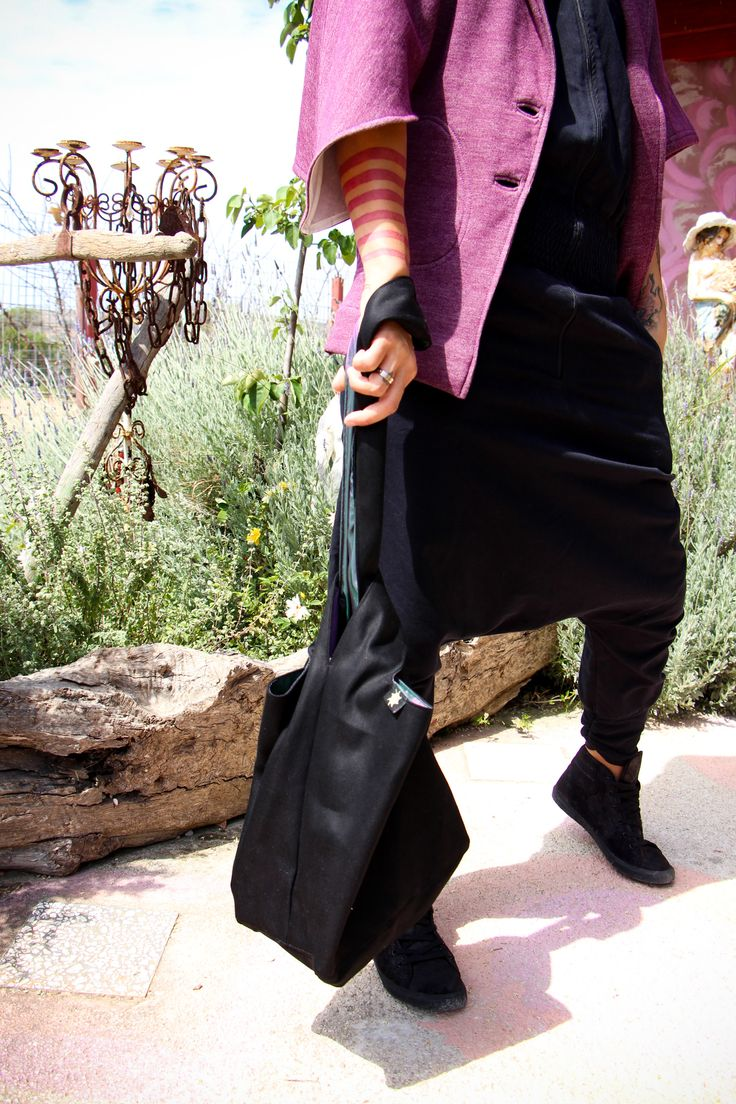 """Spring inspiration with the #organicbrokentwill #jumpsuit !YEAH! the #organicsweat #asymmetrical #cardigan """"Deep Purple"""" & the #JapaneseKnotBag made of strong #organiccotton - consistency is similiar to #veganleather Design by Mia Loebl® made in Athens"""
