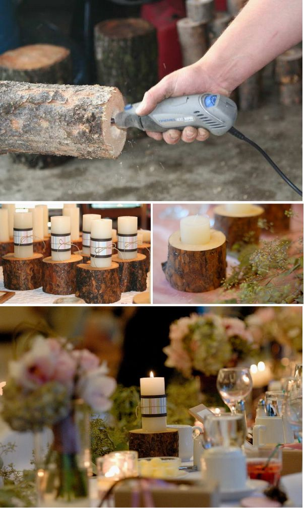 Diy wood candle holders wedding wood candle holders and for Log candles diy