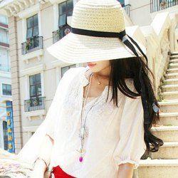 $5.66 Vintage Ribbon Bowknot Embellished Straw Hat For Women