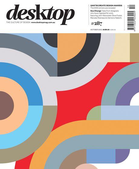 desktop magazine October 2012 cover designed by John Warwicker