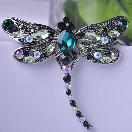 De alta Calidad de Cristal de la Libélula Broches para Mujeres de La Muchacha Verde Bufanda de La Joyería Pins Broche de Plata Antiguo Plateado Accesorios