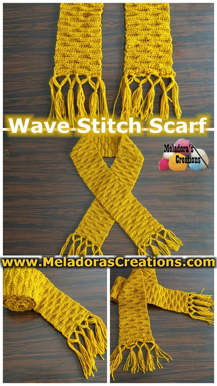 Wave Stitch Scarf - Pattern and Video tutorials for both right and left handed. By Meladora's Creations
