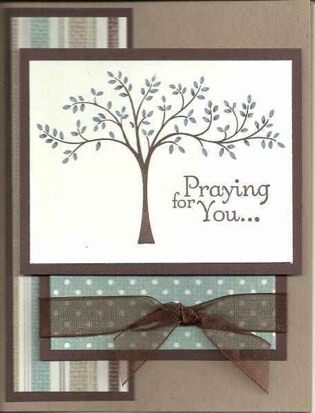 handmade sympathy card ...Thoughts and Prayers ... neutral colors ... tree ... Stampin' Up!