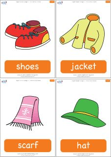 "Simple clothing flashcards for the Super Simple Learning song ""Put On Your Shoes."" #preK #Kindergarten #ESL"