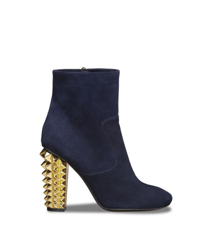 Elegant square-toe bootie in suede with studded stack heel in shiny gold, for a rocker edge.