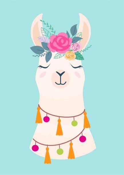 Vector illustration of cute cartoon llama with flowers. Stylish…