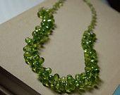 Teardrop Peridot Necklace, Green Peridot Handmade Necklace