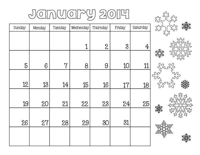 January 2014 Calendar Printable Color Sheet