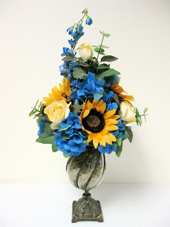 Spring Floral Arrangement Sunflower Rose by SandyNewhartDesigns