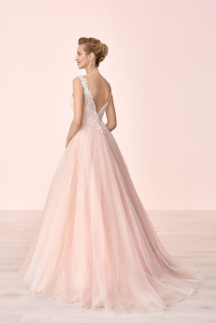 Brautkleid, V-Ausschnitt, Rückenausschnitt, Spitze, Perlen, Pailletten, Blush, …