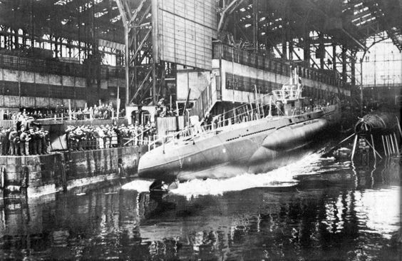 Launching of a German submarine class VII B, in the Krupp-Germania-Werft shipyard in the port of Kiel. Read more: http://worldwartwo.filminspector.com/2014/08/u-boats-scourge-of-seas.html#ixzz499E0h3F7 Under Creative Commons License: Attribution Follow us: @jamesjbjorkman on Twitter