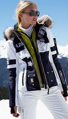 Women's ski wear   Winter fashion   White ski pants   Black and white ski jacket