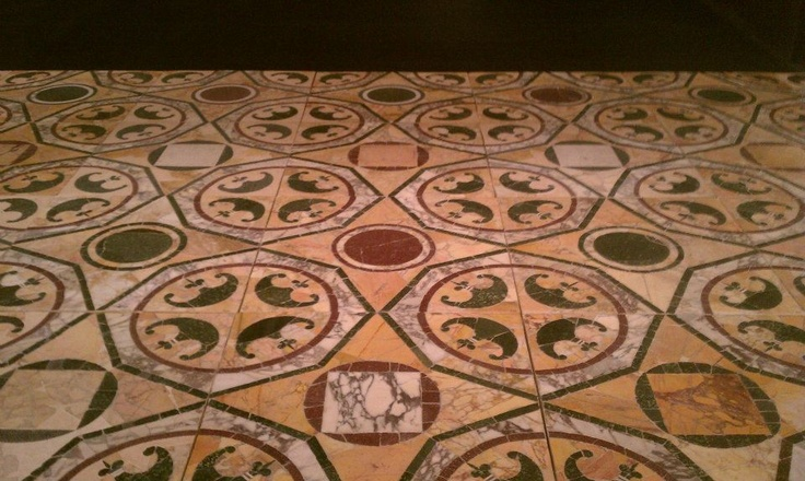 Opus sectile (cut colored marble) pavement from Ostia Antica in the Museum of the Early Middle Ages at E.U.R. in Rome, by James Aglio (Summer Archaeology Field School 2012).