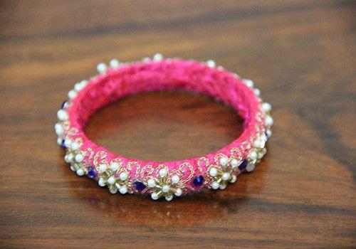 Thin Pink Pearl Zardozi Bangle – Desically Ethnic