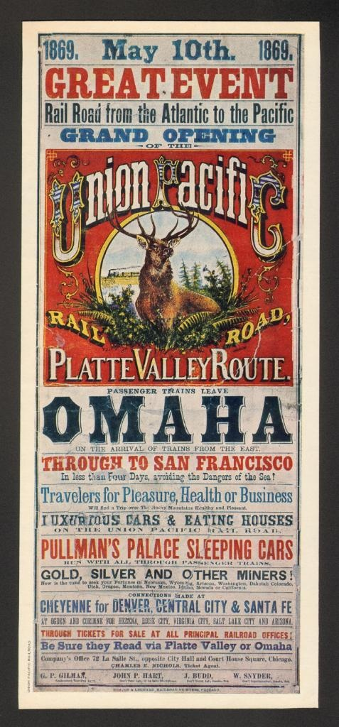 Original Union Pacific poster celebrating the 'Great Event', the grand opening of the first transcontinental railroad.