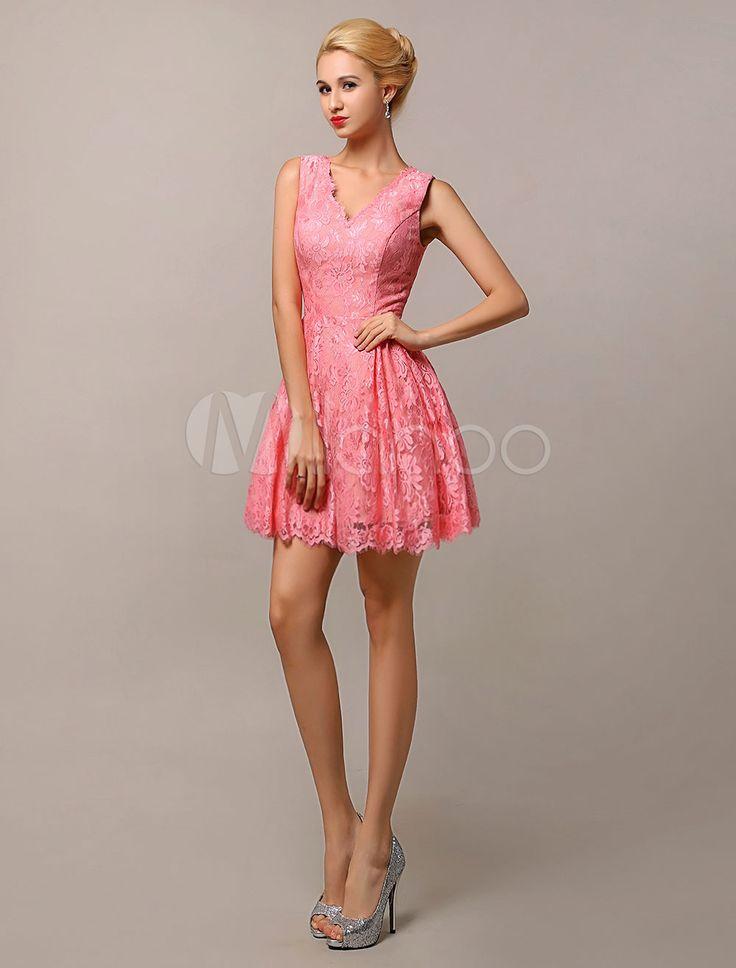 Vestido de dama de honra do joelho-comprimento v-Neck Lace-line