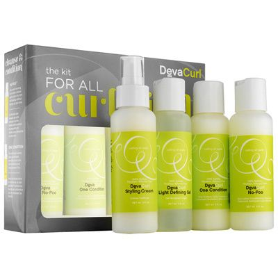 Create mountains of springy curls with The Kit for Curlkind from DevaCurl. This deluxe set includes styling cream, light defining gel, One Condition conditioner and No-Poo curl cleanser, all of which