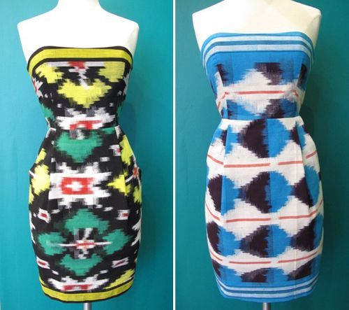 Ikat strapless dresses from Annabelle by Annabelle McCraney, via Fly