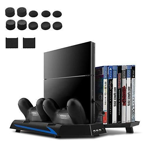 Oferta: 25.99€. Comprar Ofertas de [Versión Mejorada] Younik Base Vertical para PS4 con ventiladores, estación de carga para dos controles, estante de almacenam barato. ¡Mira las ofertas!