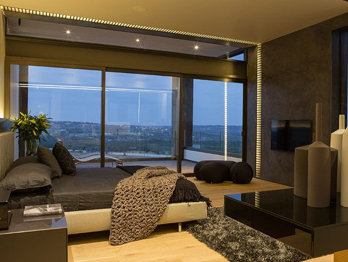 luxurious bedroom design idea in a contemporary mansion with magnificent views located in south africa - Bedroom Designs South Africa