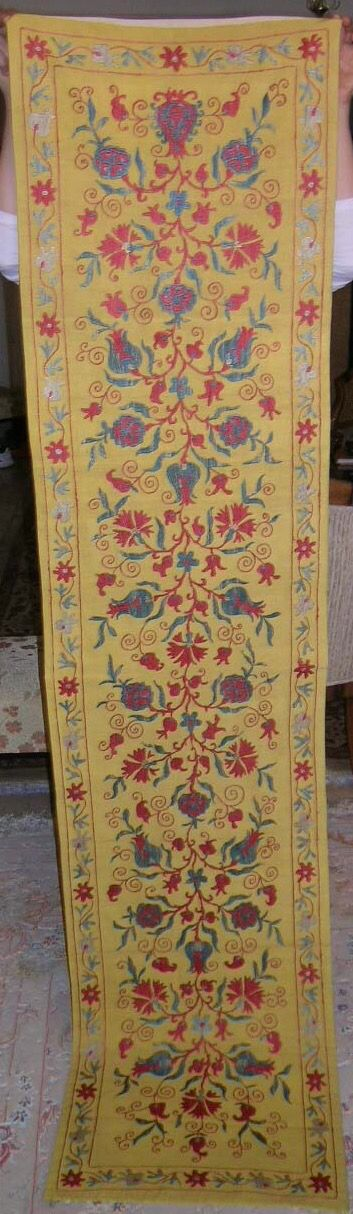 Pure silk embroidery on cotton foundation,natural colors,totally hand made 185cmx46cm