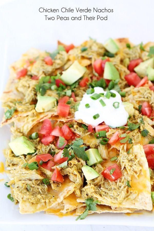 Slow Cooker Chicken Chile Verde Nachos Recipe on http://twopeasandtheirpod.com #recipe #chicken #crockpot