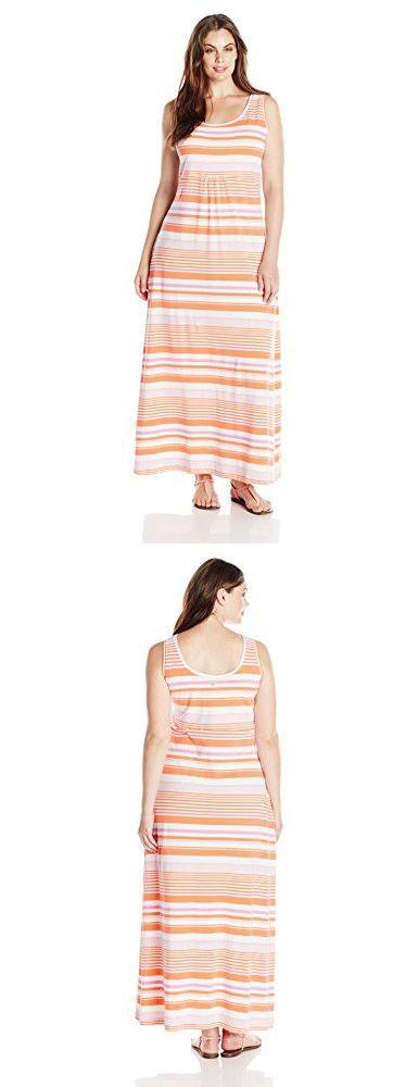 Columbia Sportswear Plus Reel Beauty II Maxi Dress, Coral Flame Stripe, 1X