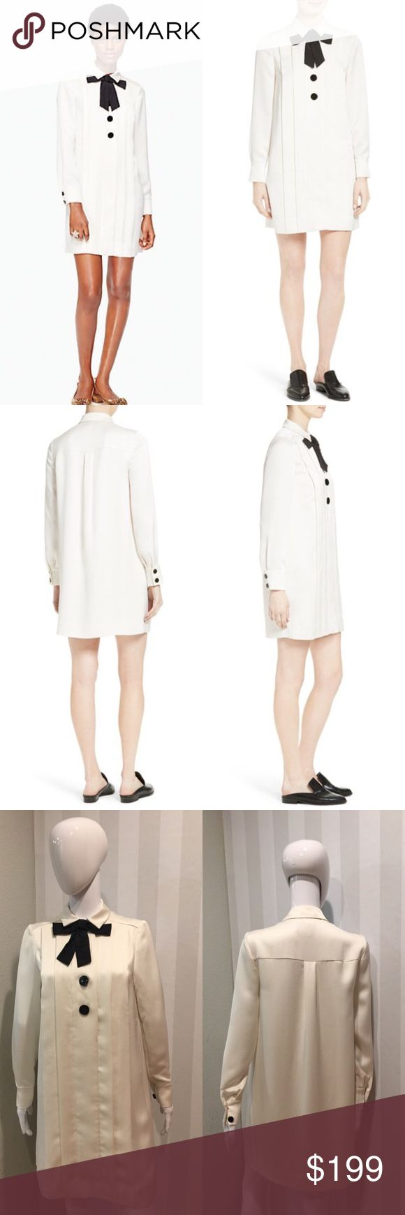 """Kate Spade satin crepe bow neck shirt dress chic Condition: brand new without tags, never worn.2017 spring collection. Front button closure. Point collar Long sleeves with two-button cuffs Back yoke with box pleat Straight hem 100% polyester color: French cream. Measurements: size 2: bust:37""""; ; hips:39.3""""; shoulder:14.8""""; sleeve:23.6""""; overall length:34.6"""" size 4: bust:38.6"""";  hips:40.9:; shoulder:15.2""""; sleeve:24""""; overall length:35"""" kate spade Dresses Mini"""