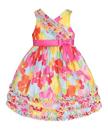 Loving this Pink & Blue Floral Ruffle Dress - Toddler on #zulily! #zulilyfinds