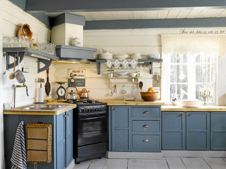 Scandinavian Country Kitchen, Love The Robin Egg Blue Cabinets