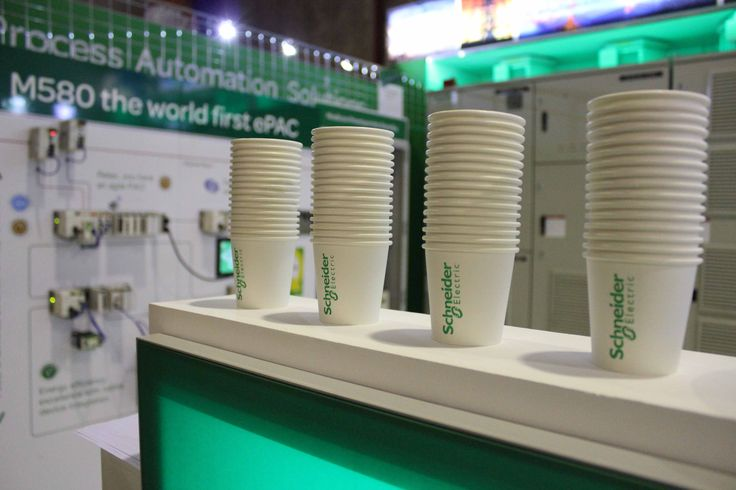 Branded coffee mugs for exhibition stand