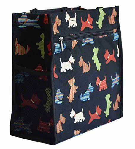 Bolso tapiz Shopper de moda Signare para mujer bolso de hombro Animal (Terrier escocés) - http://comprarparaguas.com/baratos/de-perro/bolso-tapiz-shopper-de-moda-signare-para-mujer-bolso-de-hombro-animal-terrier-escoces/