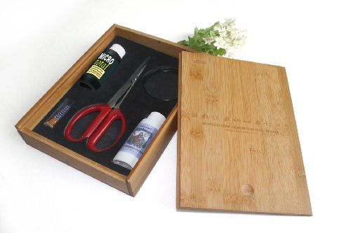 """Bonsai Tree Starter Tool Kit in Bamboo Box by Tinyroots. """"Anti-Intimidation"""" Starter Kit includes 101 Bonsai Tips Book, Butterfly Shears, MicroTotal Micronutrient Supplement, Fertilizer, Aluminum Wire, Mudman Figurine & Gorgeous Bamboo Storage Box 