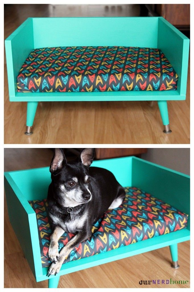 DIY mid century style pet bed - with Star Trek cushion! (geek home decor / geek gifts)