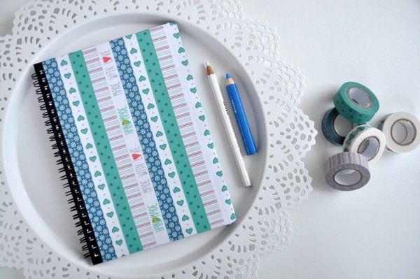 Dekor ragasztó szalagos füzetdekorálás - Masni / Washi tape booklet decoration, easy, DIY