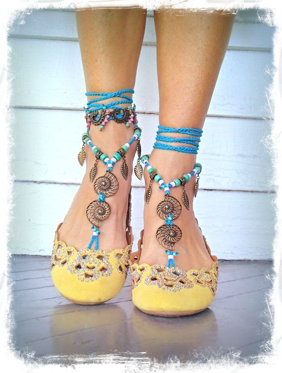 Blue NAUTILUS BAREFOOT sandals Toe Thongs crochet SANDALS Woodland Beach Wedding bare feet Snail Foot jewelry Festival Fairy GPyoga Nautical