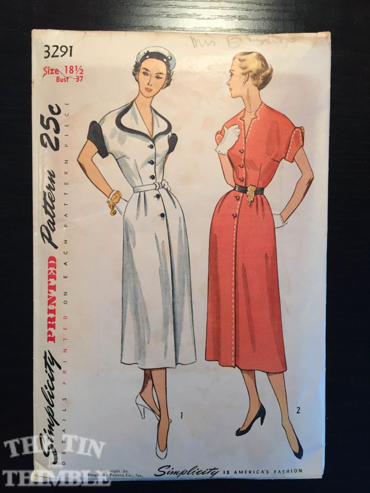Vintage 1940's Simplicity Dress Pattern 3291 by TheTinThimble