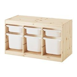 IKEA - TROFAST, Storage combination with boxes, pine white/white, , A playful and sturdy storage series for storing and organising toys, sitting, playing and relaxing.The frame has several grooves, so you can place boxes and shelves where you want them – and change them any time.Low storage makes it easier for children to reach and organise their things.